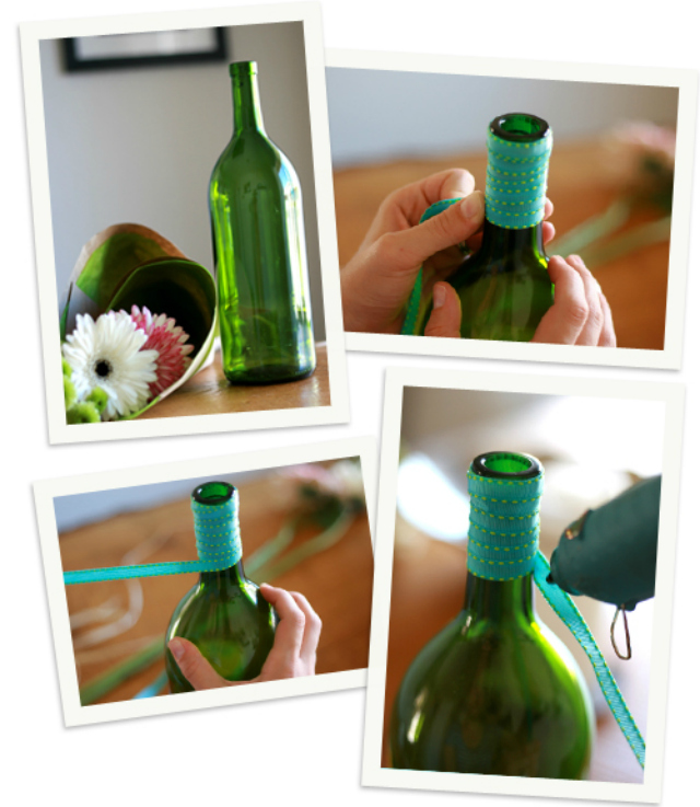 Diy wedding on pinterest yarns ribbons and saris for Cute wine bottles