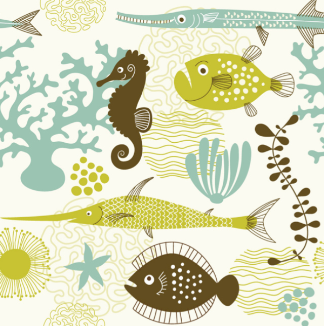 Tribal Fish Ipad Wallpaper Background And Theme: Sea Life, Sealife, Pattern, Fish, Illustration, Ocean