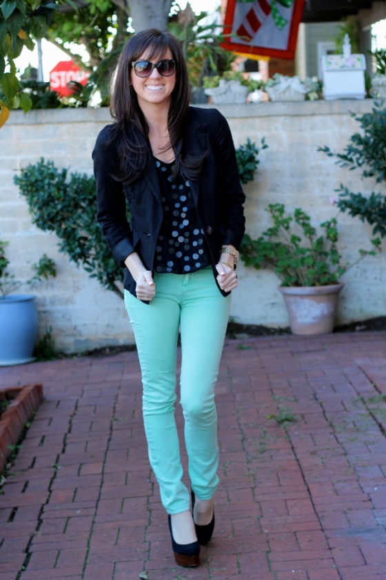 NookAndSea-Sara-Bacon-Glitter-&-Grace-Blog-Fashion-Orange-County-California-Beach-Style-Street-Sequins-Mint-Green-Jeans-Pants-Bangs-2