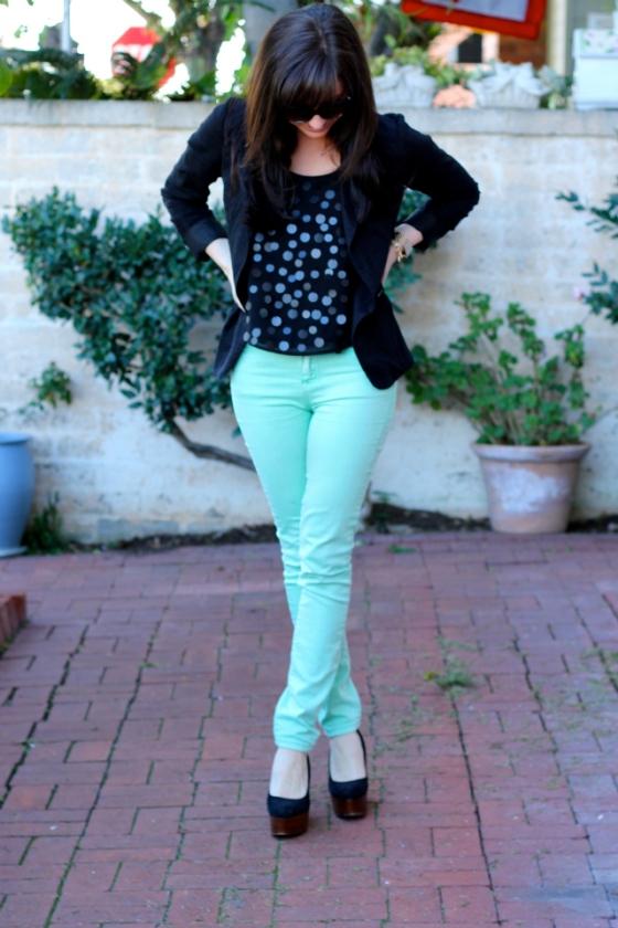 NookAndSea-Sara-Bacon-Glitter-&-Grace-Blog-Fashion-Orange-County-California-Beach-Style-Street-Sequins-Mint-Green-Jeans-Pants-Bangs-1