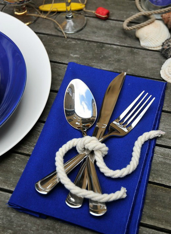 NookAndSea-Blue-Bright-Bold-Table-Setting-Silverware-Rope-Tie-Ring-Wood-Nautical-Beach