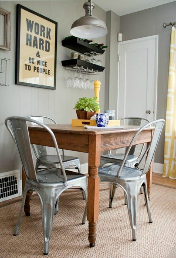 Nookandsea Light Grey Gray Walls Paint Modern Metal Chairs Dining Room