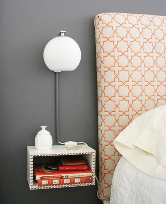 NookAndSea-Nightstand-Idea-Unique-Alternative-Free-Floating-Hanging-Fastened-Ledge-Wall-Shelf-Studded-White-Headboard-Orange-Grey-Wall-Modern