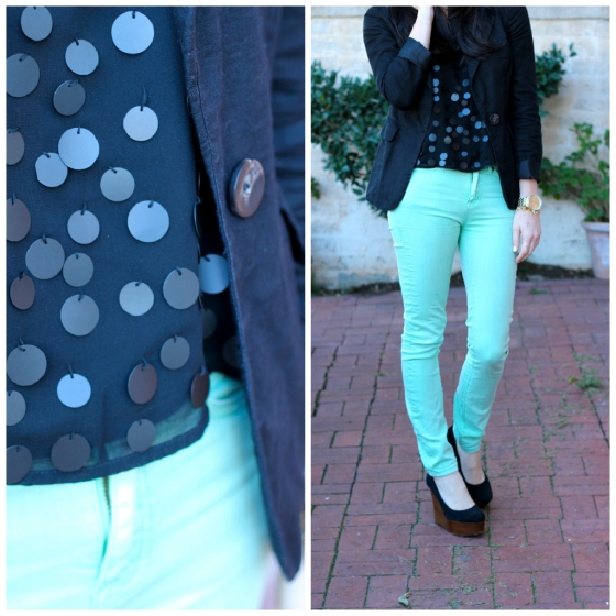 NookAndSea-Sara-Bacon-Glitter-&-Grace-Blog-Fashion-Orange-County-California-Beach-Style-Street-Sequins-Mint-Green-Jeans-Pants-Bangs-Collage-Inspiration-Board-Blazer-Shoes-Gold-Watch-Brick