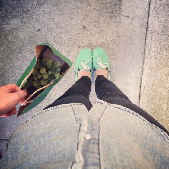NookAndSea-Blog-Chambray-Shirt-Button-Down-Top-Green-Shoes-Black-Pants-Paper-Bag-Succulent-Sidewalk