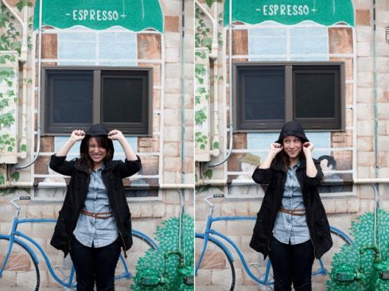 NookAndSea-Sorella-Muse-Photography-The-Portraiteer-Hood-Black-Jacket-Rainy-Day-Brown-Belt-Chambray-Shirt-Jean-Denim-Paint-Bicycle-Blue-Mural-Wall-2