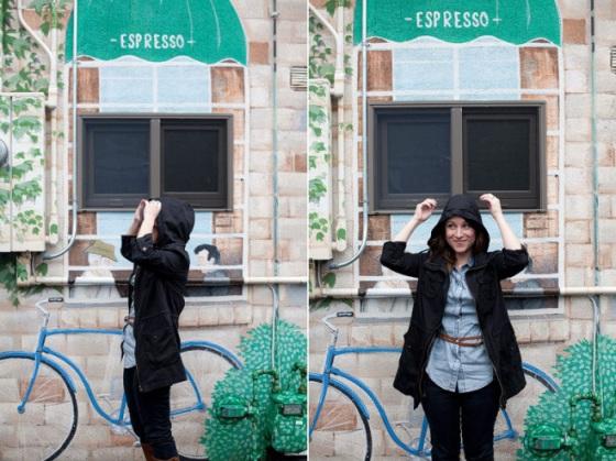 NookAndSea-Sorella-Muse-Photography-The-Portraiteer-Hood-Black-Jacket-Rainy-Day-Brown-Belt-Chambray-Shirt-Jean-Denim-Paint-Bicycle-Blue-Mural-Wall